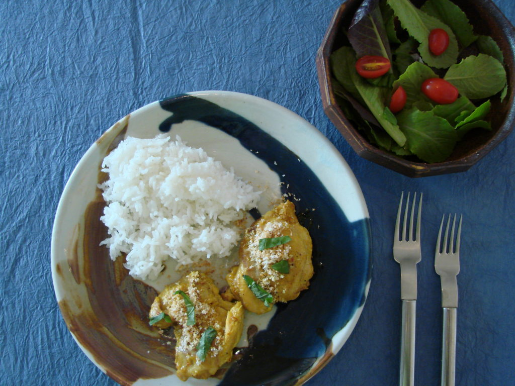 Coconut chicken with lemongrass and coconut goes well with jasmine rice.