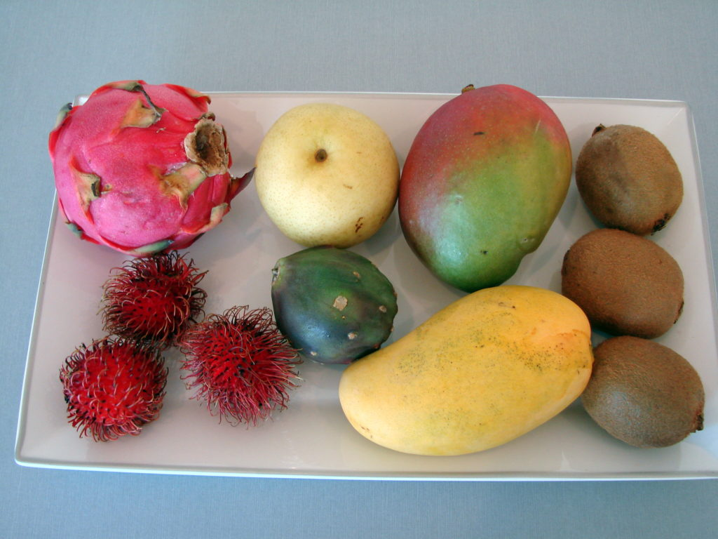 From top-left, clockwise: dragon fruit, Korean pear, mango, kiwi, different mango, mystery fruit (did not use), rambutan
