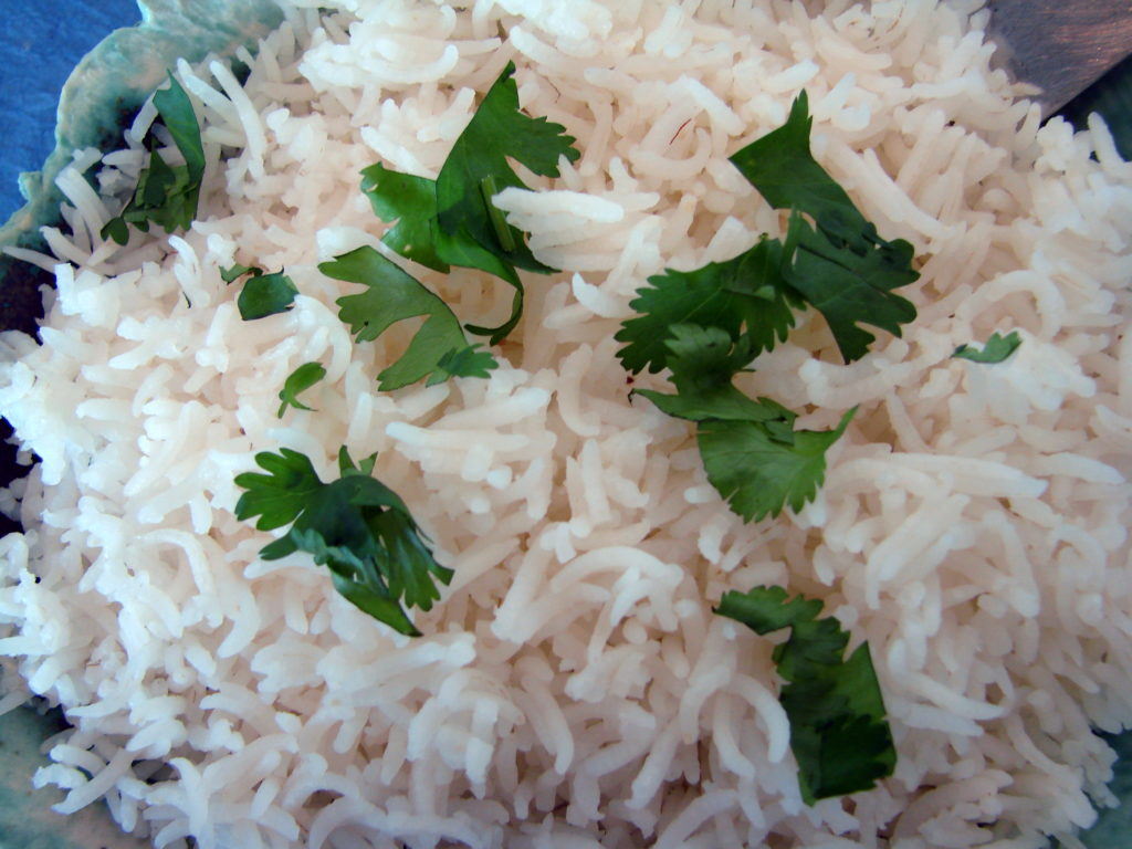Basmati rice with some cilantro is the perfect accompaniment to the korma.