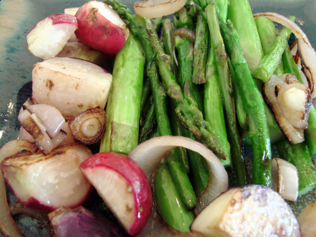 These veggies are from the garden (except for the shallots). Be sure not to overcook.