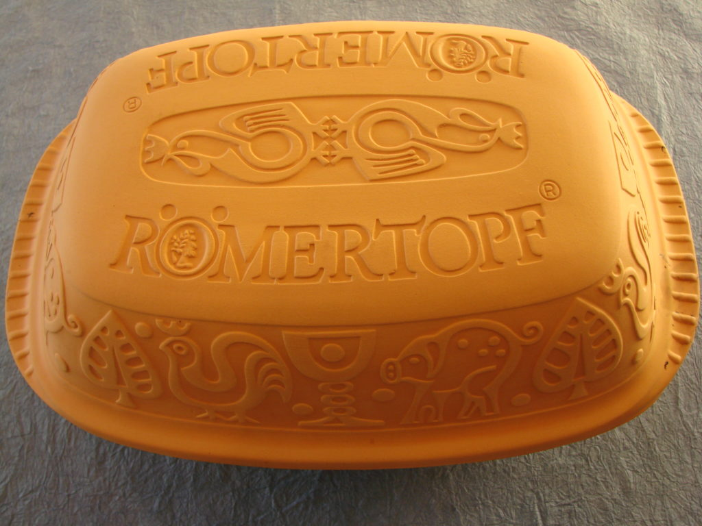 The pristine outside of a new Romertopf