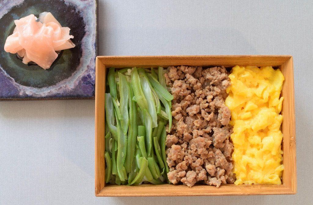 Sanshoku Bento (Rice with three toppings)